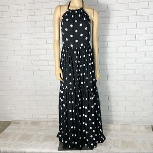J. Crew Halter-Neck Tiered Maxi Dress in Dot